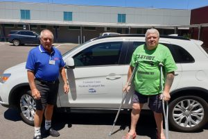 Cooloola Cove resident Paul Hudson arriving safely for his appointment at Gympie Hospital with the support of one of our caring drivers, Warren Morriss