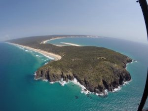 Double Island Point is a Go Slow area for all watercraft. (Photo Supplied by Rainbow Beach Helicopters)