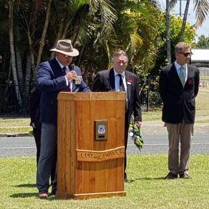 The Remembrance Service held at the TCB RSL Sub Branch with G. Braganza, Deputy President; Councillor Mark McDonald ; Pastor John Van Der Heidjke