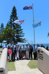 Veterans with Reverend Ingrid Busk during the Rainbow Beach Remembrance Day Service.