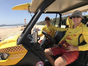 Alex Brantz and Anton Klekar on patrol and members of the Rainbow Beach Surf Club