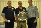 Marquis Chapman receiving his Champion award from Club President Jon Constable and Mayor Mick Curran.