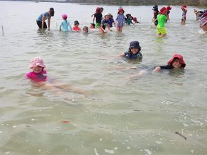 Tin Can Bay students enjoying the water at the foreshore