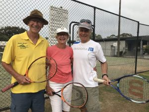Bob and Chris Gudge with Phil Ingram invite you to play social tennis at Rainbow Beach