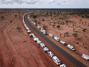 AMLC are now the Guiness World Record holders for the largest parade of camping vehicles - photo from AMLC in Barcaldine, 2019