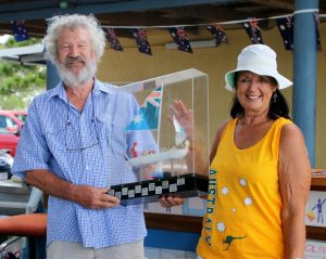 Australia Day at the Bay - TCB Yacht Club Patron Robyn Creighton presents the Olive Dish Trophy to Yacht Club Commodore Doug Watson