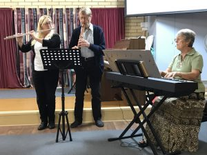 Debbie, Len and Pam playing the theme song from the film Titanic: My heart will go on, with flute, tenor recorder and piano