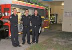 Three of the local firefighters, Ivan Thrash, Liam Gray and Geoff Cochrane, who meet every Tuesday night at the Rainbow Beach Station to maintain and upkeep the equipment and train