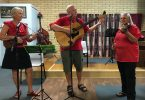 Lyn, Frank and Marilyn - an interesting ensemble with ukulele, guitar and violin