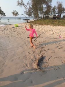 Elora, grand-daughter of club member, Jane Potter, on a recent holiday in Tin Can Bay learns how to fish