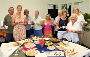 Library Lovers Day was held last month at the Rainbow Beach Library with a lot of work done to make it a lovely event by Caroline and Jenny. Pictured are Chris and Anne Thornton, Jenny Tanner, Gayle Young, Ze, Caroline Taylor, Maree Heron, Rose Mayes and Val Davidson.