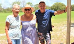 Edith McBride, Jackie and Greg Eaton were grateful Lionel's memory was honoured as he loved his time as the scorer for the Rainbow Beach Cricket Team