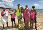 Tobias, Rhys, Brooke, Banjo, Mason, Lily back, Dysis (Front), Sienna and Di during Clean Up Australia Day
