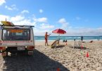 Great to see lifeguard Liam Toohey back with the red and yellow flags on the beach for safety at Rainbow Beach