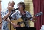 Len on harmonica Kay on guitar and vocals enjoying Music Plus before we went into lockdown