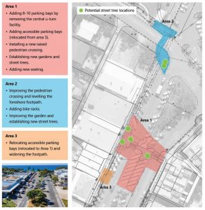 The survey map detailing changes to the main street of Rainbow Beach - have your say on the link in the story