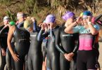 Competitors lining up for the start of the 2019 Triathlon swim leg
