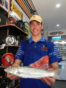 Gardiner Fisheries - Alex Brantz with a Sand Whiting caught in the surf ready for the Winter Whiting Competition starting August 1