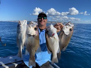 Keely Rose - Long time mate Scott Hillier with a nice bag of Pearl perch. Great to see the Creek to Coast crew on our shores again!