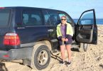 Wanda Deen on her way to deliver the mail to Fraser Island which she does twice a week