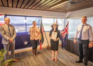 Our latest Australian citizen Elisa Seul with Mayor Glen Hartwig, Division 1 Councillor Jessica Milne and MP Tony Perrett