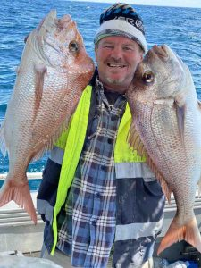 Keely Rose Fishing - Regular client Steve with a pair of beautiful Rainbow Beach Snapper
