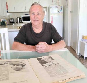 Local man, Bobby Durey with press cuttings from his days as one of Australia's leading jockeys.