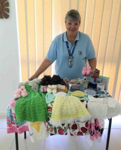 QCWA President Wendy receiving handmade items made by members going to those in need - great work ladies of the QCWA