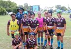 The local team in the inaugural Bush versus Beach exhibition match hosted by Rainbow Beach last month