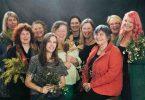 Wild/flower Women III artists and curators - photo by Jazmyn Bowman. Nicole Harper, Joolie Gibbs, Barbara Hart, Zela Bissett, Nina Shadforth, Sandra Ross, Susan Davis, Melissa Stannard. Front: Anne Harris, Ulrike Sturm. (Absent: Judy Barrass, Meaghan Shelton).