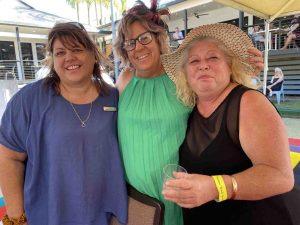 Local ladies, Lou Kelly, Kylie Betteridge, Juanita Kelly enjoying the Sports Club marquee