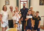 Lovely Nina Fierriera was baptised last month at the Catholic Church in Rainbow Beach surrounded by family and friends; Ann and Chris Thornton, Caralie and Carlos Ferreira, Solange Ferreira, baby Nina, Nay and Roy Ferreira.