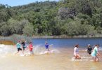 The Rolleston School camp students were so excited to hit Lake Poona after a long hot walk