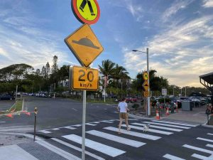 There are no STOP signs now at the pedestrian crossing closest to the Surf Club car park - instead GIVE WAY from Rainbow Beach Road