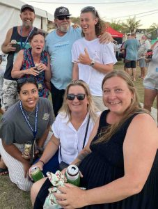 Raninbow Beach Fishing Classic - Locals Cameron Betteridge, Anna Gremmel, Simon Emms, Tom Head and Jaz Dowling, Tamara Emms and Cherie Betteridge don't realise what a good comp it will be - as Tom took home a boat in the cadet prize draw!