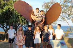 Congratulations Year 6 - graduating Rainbow Beach State School students always finish with a photo at the propeller