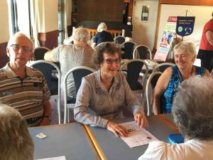 Probus - Everyone happily chatting at the meeting - John, Kaye, Jo and others