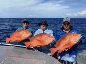 Happy guys fishing on the Keely Rose with a triple hook up on spectacular Red Emperor