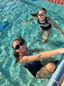 Local squad members, Keira and Maia, cool down at the pool