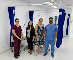 Nurse Manager Tracy RN, Dr Rita Vinten, Dr Kim Badcoe, and Dr Samer Sirri are ready to welcome you at the new Cooloola Cove General Practice