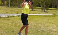 Golf - Carolyn Gamble teeing off on the 15th tee