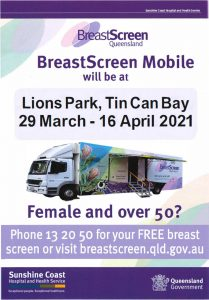 BreastScreen mobile service is back at Lions Park Tin Can Bay from March 29 to April 16