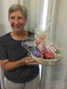 Jean won a basket of eggs at the CWA - more hampers are on offer for Easter