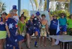 A happy crowd in Aussie dress up at the Australia Day Olive Trophy Challenge