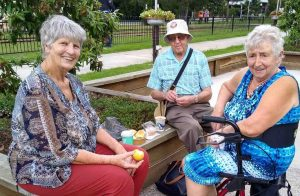Cooloola Coast Probus members, Katrina, Arthur and Jo, picnic at the Mary Valley Rattler where there are lots of Easter and holiday train rides