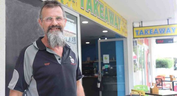 Andrew Kingsley from Rainbow Beach Fruit is hopeful of finding a home for his family - and says something must be done about the housing on the Cooloola Coast