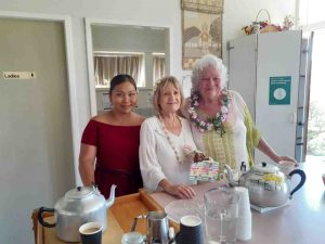 Neza Paye, Margaret Cudahy and Sabine Deimel providing the 'cuppas' at the World Day of Prayer