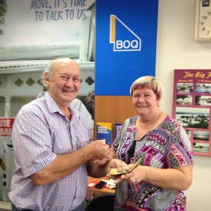 Tony Stewart donates $500 to feed the homeless with Coordinator Marlene Owen in Gympie