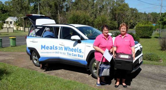 Tin Can Bay Meals on Wheels are one of the wonderful groups you can talk to about volunteering at the Expo on May 22 - Robyn McAndrew and Shirley Sismey about to embark on their weekly delivery to Rainbow Beach where they are looking for people who would like to receive the service