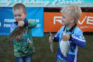Olly and Kasey compare catches at a Fishing Classic